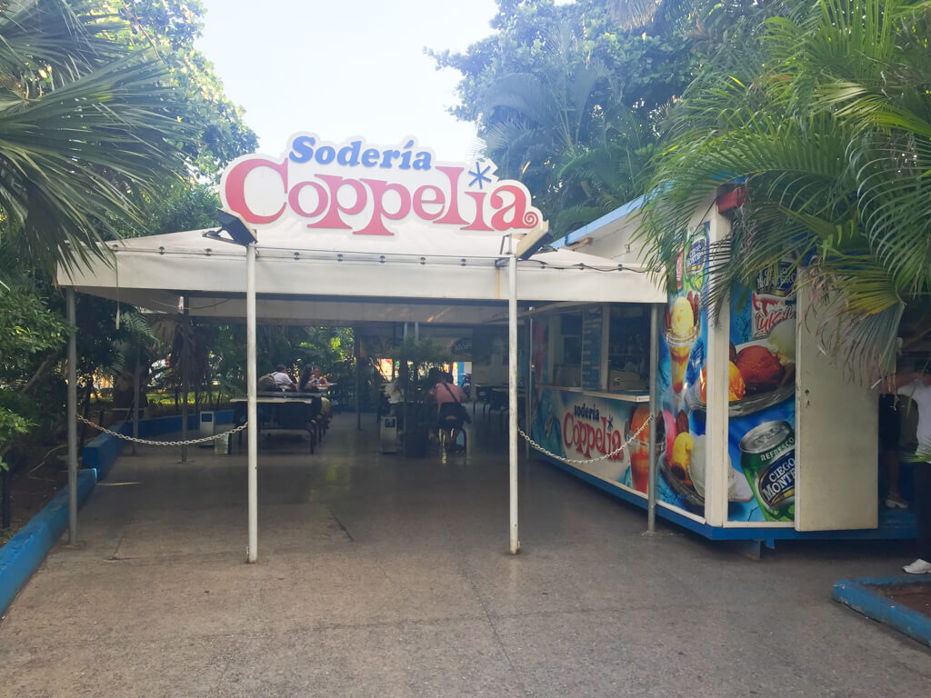 Dining area for tourists at La Coppelia in Havana. You pay in CUCs here.