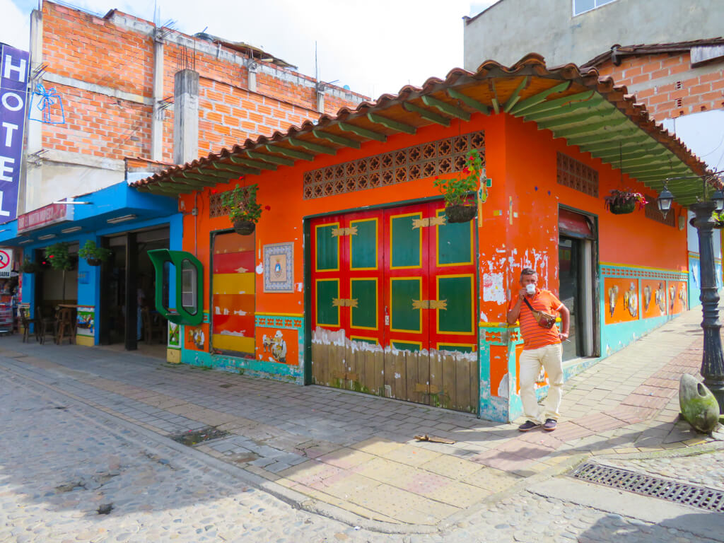 A bright orange house in Guatape, Colombia