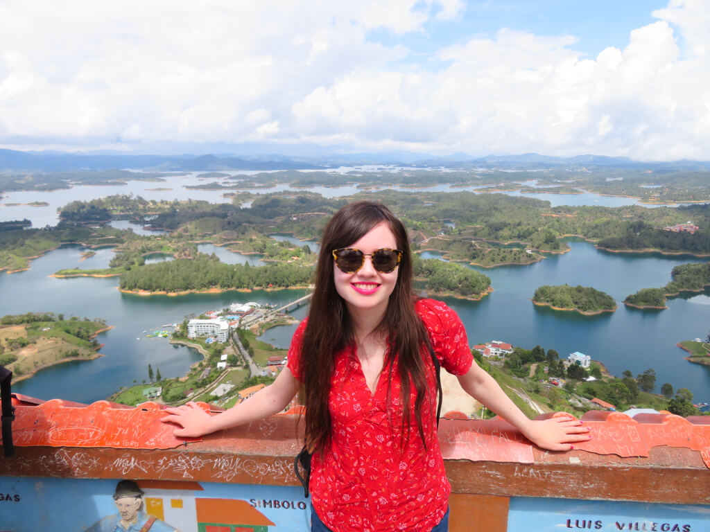 Enjoying the view from the top of the rock of Guatape in Colombia