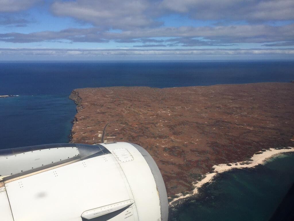 View from the plane on the way to Baltra airport in the Galapagos