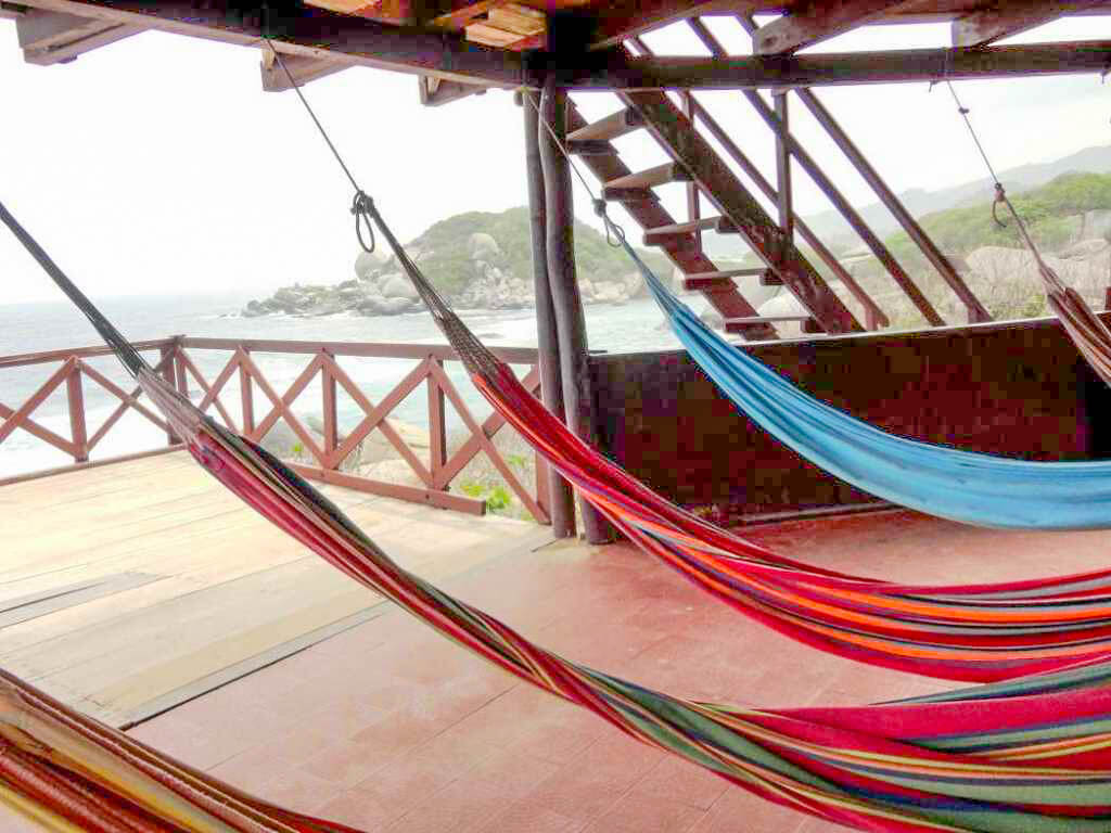 Relax in cozy hammocks in Tayrona National Park, Colombia