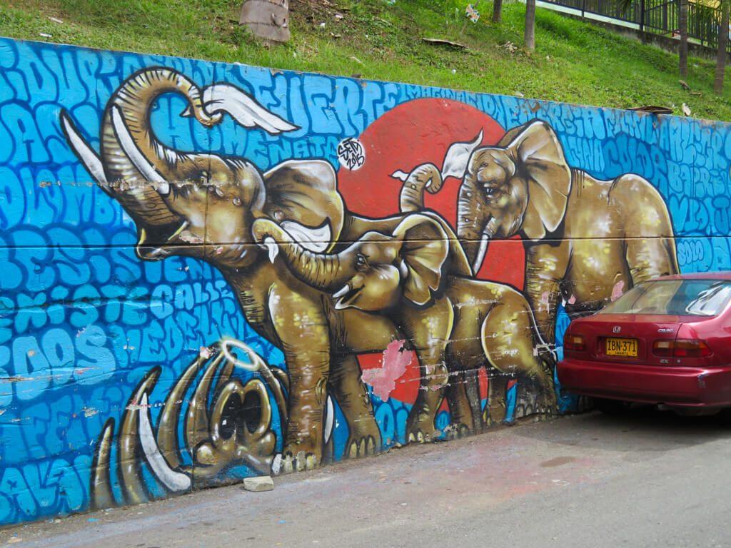 Street art of elephants in Comuna 13, Medellin