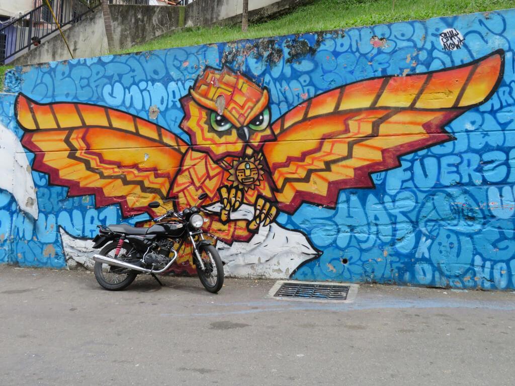 Street art of a bird in Comuna 13, Medellin
