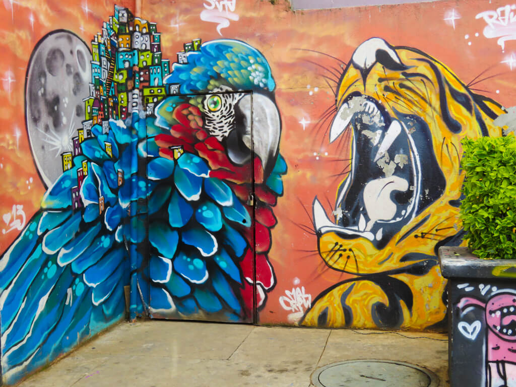Street art of a macaw and tiger in Comuna 13