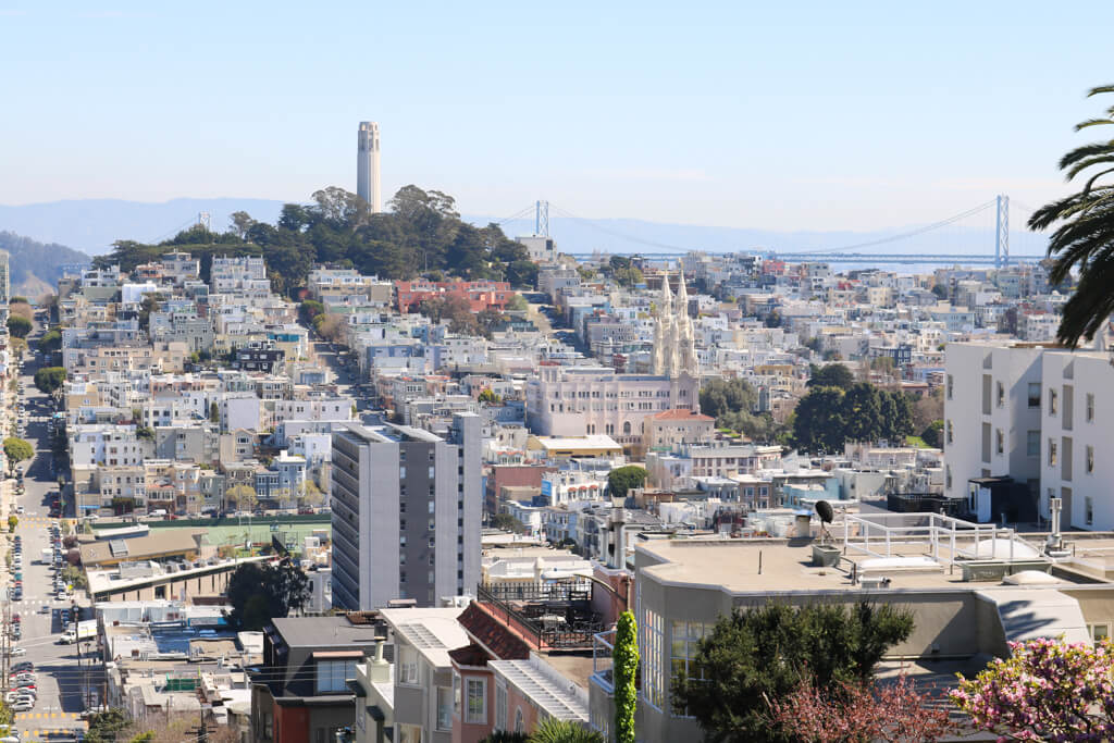 A view of Coit Tower as seen from Lombard Street