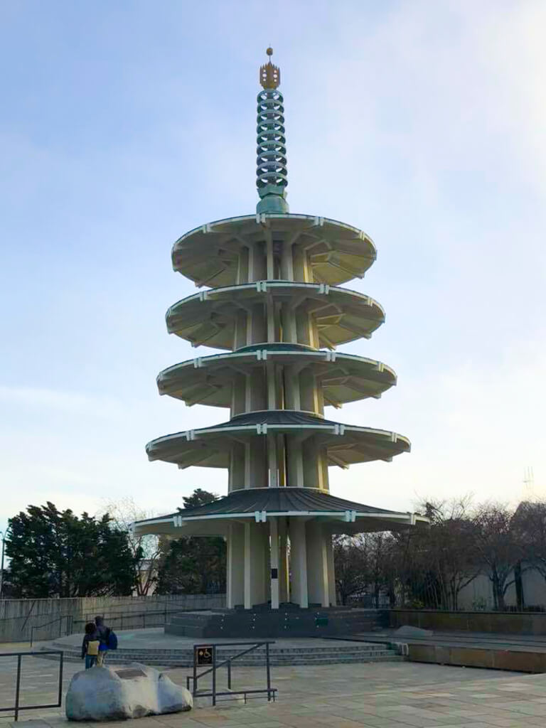 The peace pagoda at Japan Center in San Francisco's Japantown