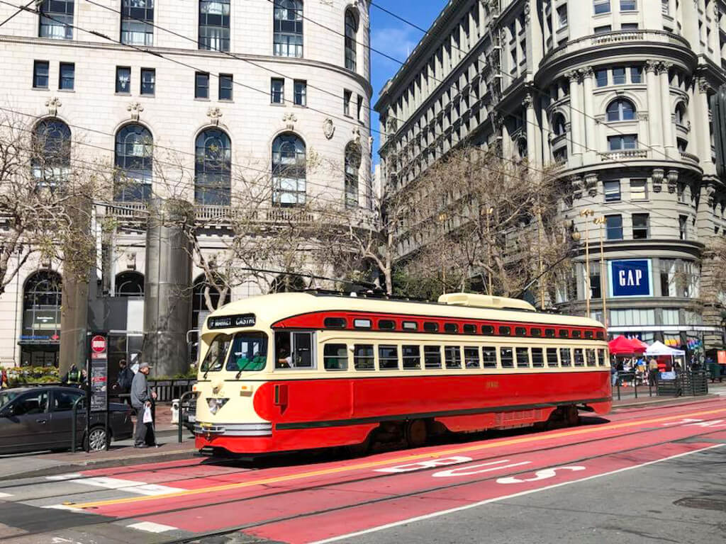 An old streetcar in Union Square, San Francisco
