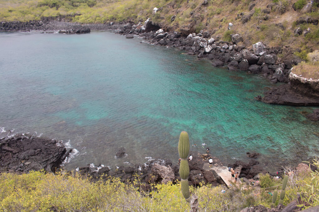 Tourists snorkel at Las Tijeretas on San Cristobal. It is an excellent spot to snorkel with sea lions in the Galapagos Islands