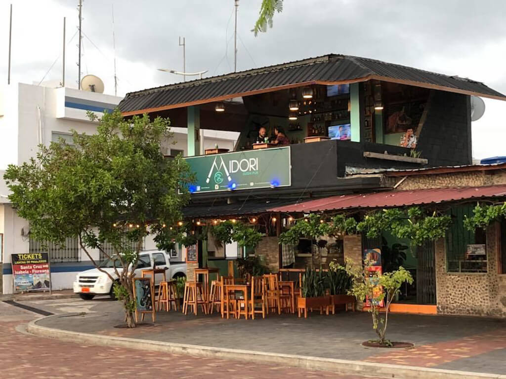 Midori Sushi pub on San Cristobal Island in the Galapagos. It has an open air area on the top floor that is great for people watching