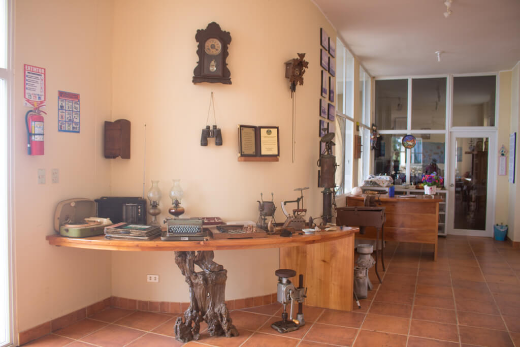 Artifacts at the museum at the Wittmer Lodge, Floreana Island