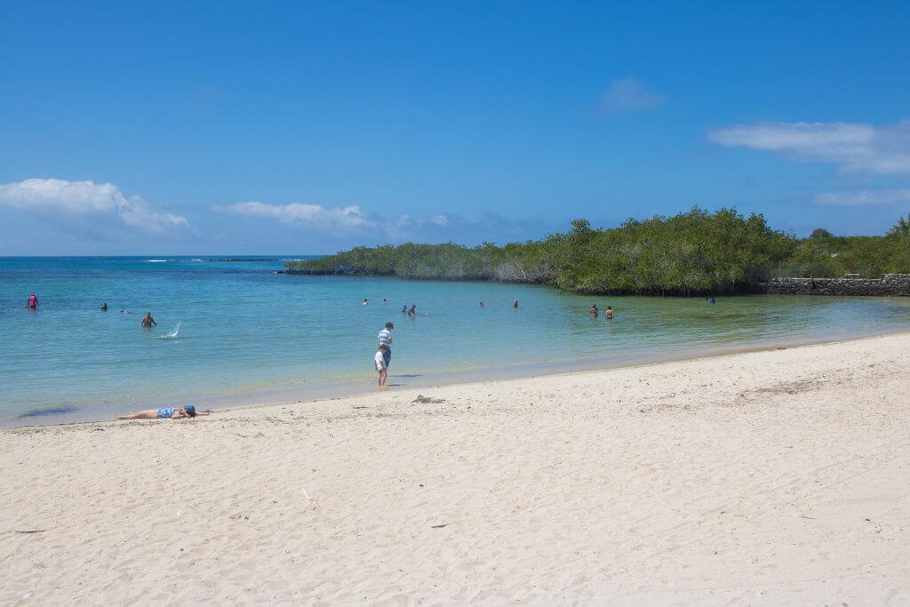 Playa de los Alemanes is a sandy beach along the path along the way to Las Grietas on Santa Cruz Island in the Galapagos