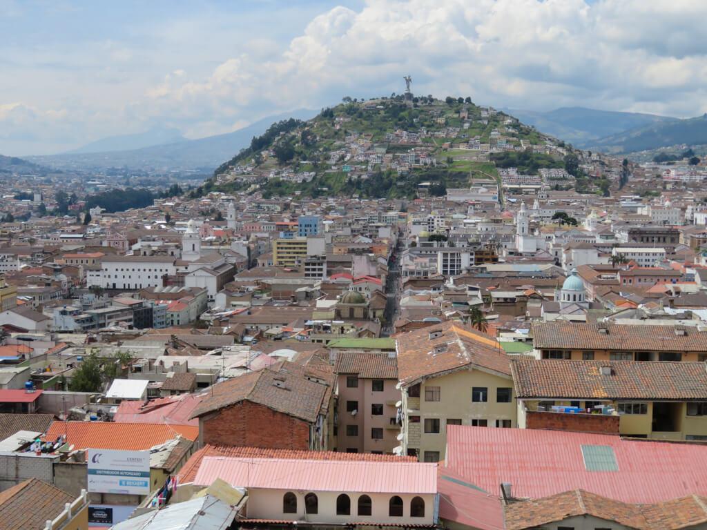 View of El Panecillo from the Basilica del Voto Nacional in Quito, Ecuador
