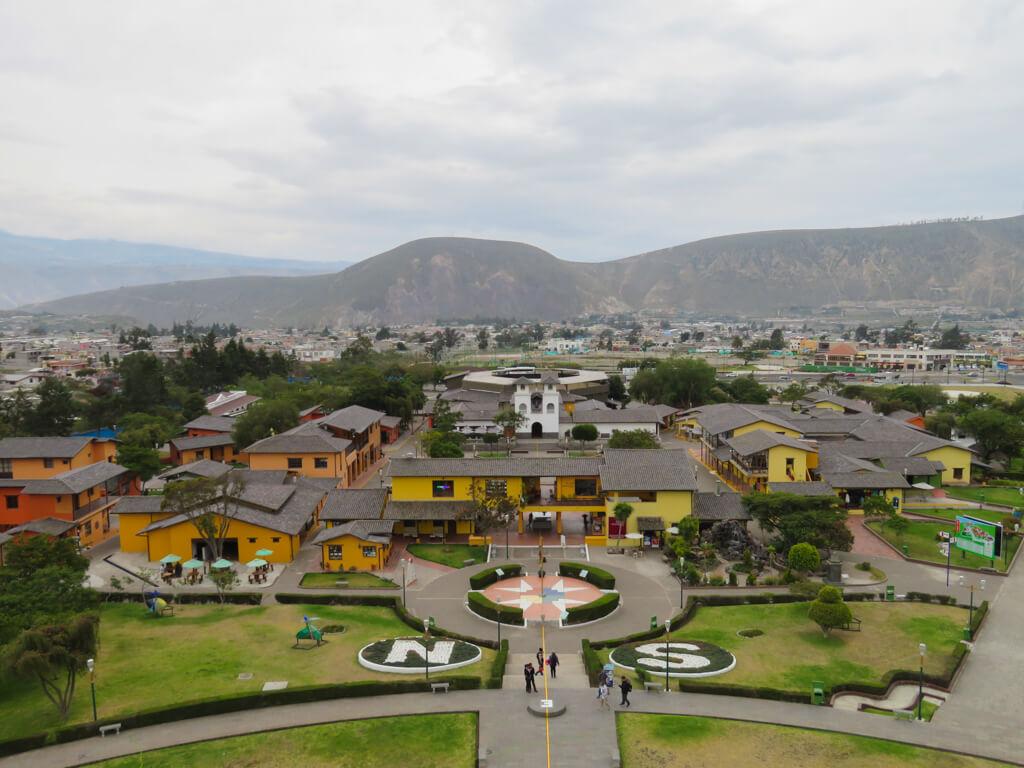 View of La Mitad del Mundo Tourist Complex from the top of the monument