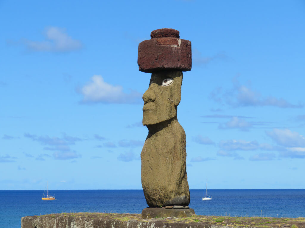 Ahu Ko Te Riku is the only moai with eyes. It is located at Ahu Tahai on Easter Island