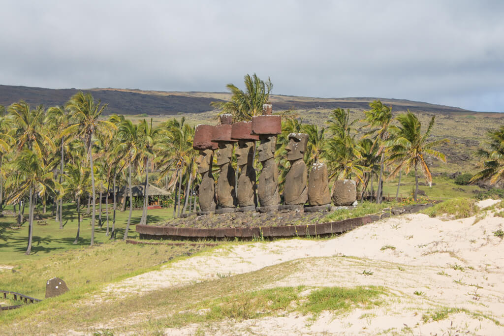 Ahu Nau Nau is an ahu platform at Anakena Beach on Easter Island