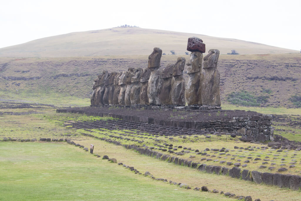 The 15 moai of Ahu Tongariki on Easter Island stand tall and proud