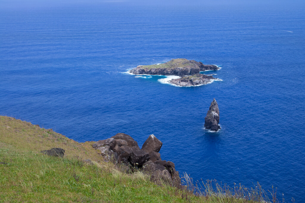 Motu Nui islet as seen from Orongo Village. Competitors had to swims to Motu Nui during the Birdman competition