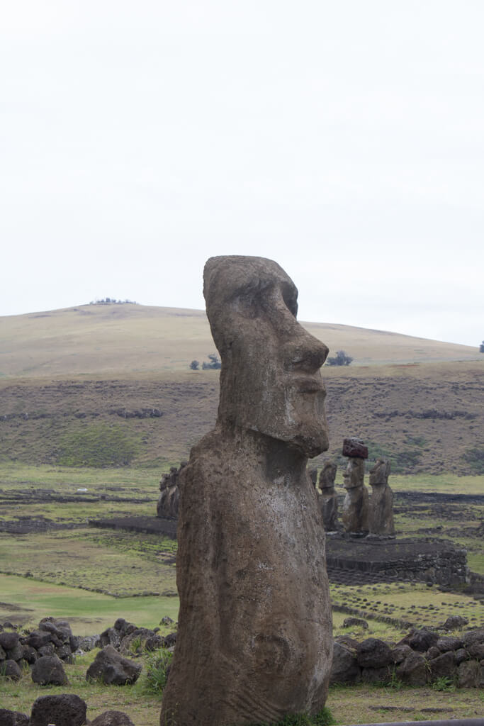 """The """"Traveling Moai"""" greets visitors at the entrance to Ahu Tongariki on Easter Island"""