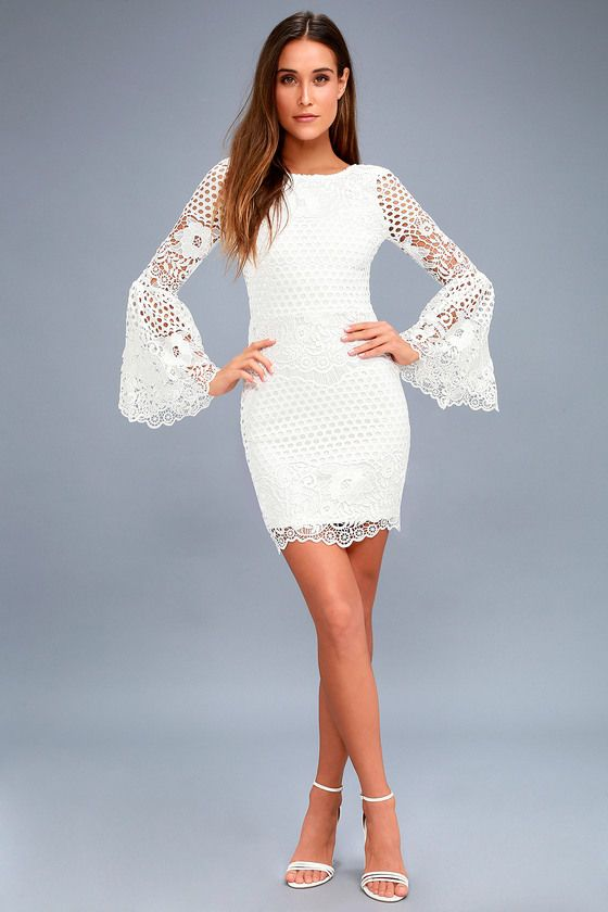 Angelisa white lace long sleeve dress