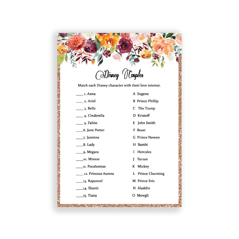 Match the Disney couples bridal shower game