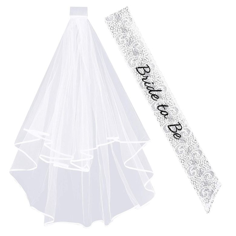 Bachelorette party sash and veil