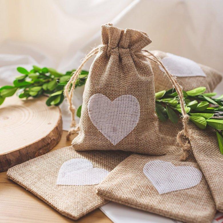 Burlap bags are great rustic wedding shower favors