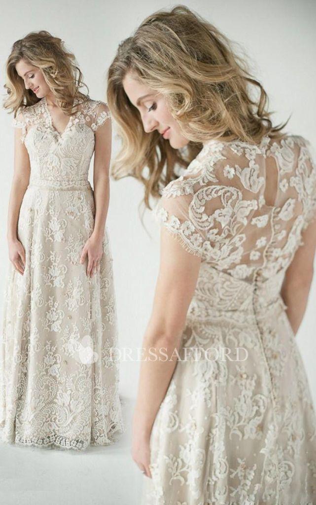 Empire v neck lace boho wedding dresses