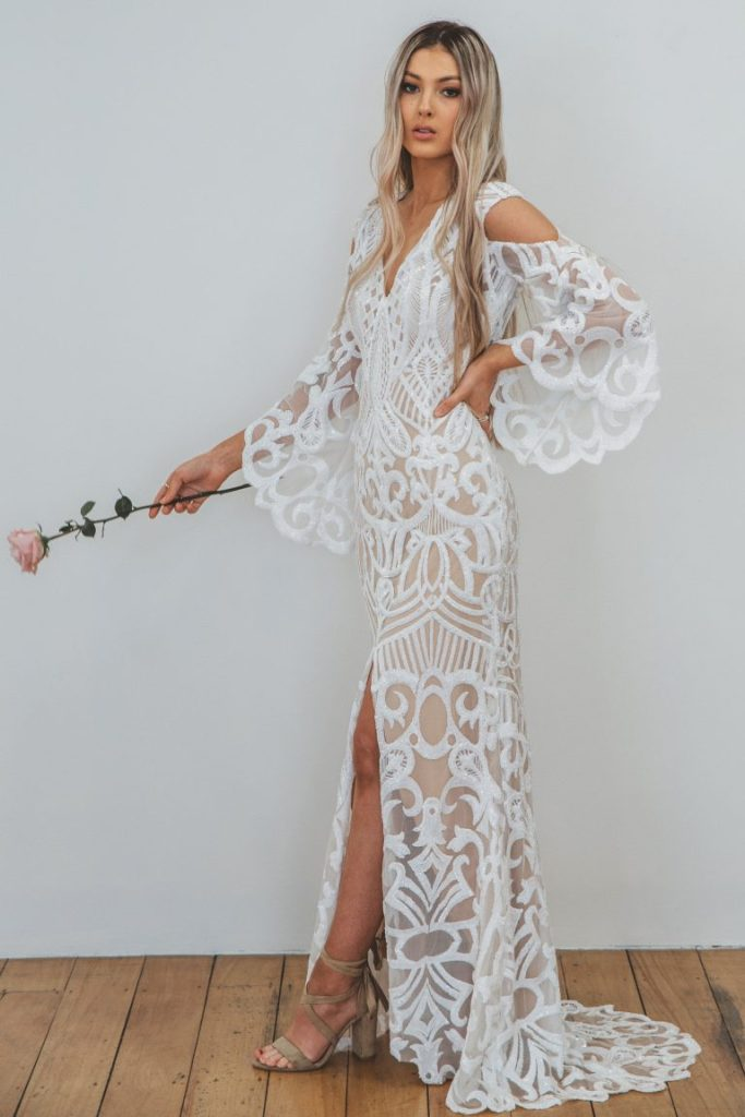 Rio lace bohemian wedding dresses