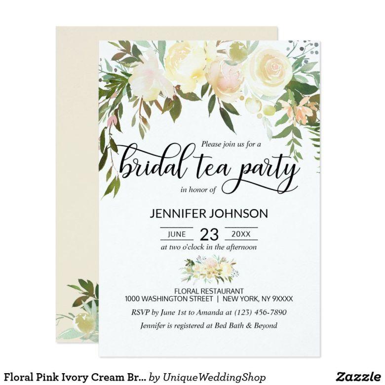 Floral tea bridal shower invitation