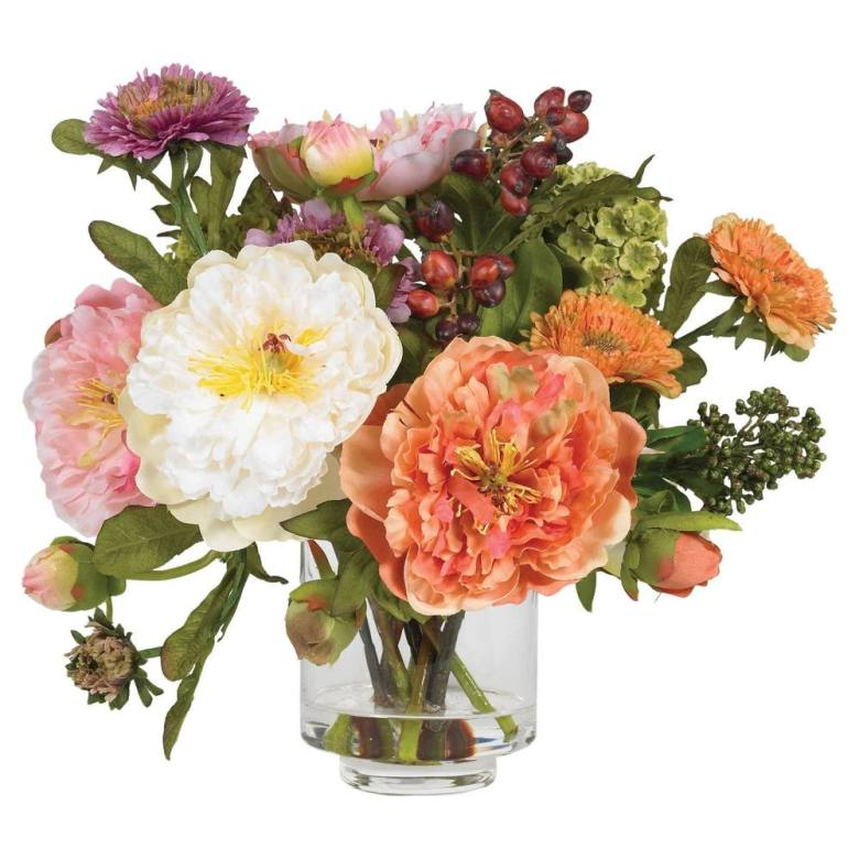 Artificial peony flower arrangements