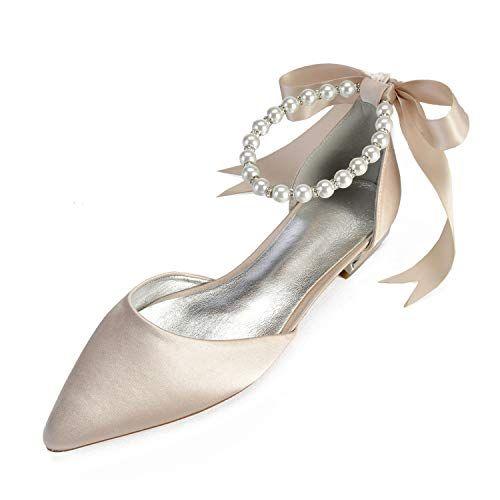 LLBubble Flat Satin Pearls Bridal Shoe