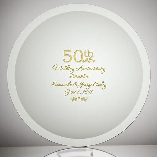 Etched Glass 50th Wedding Anniversary Plate
