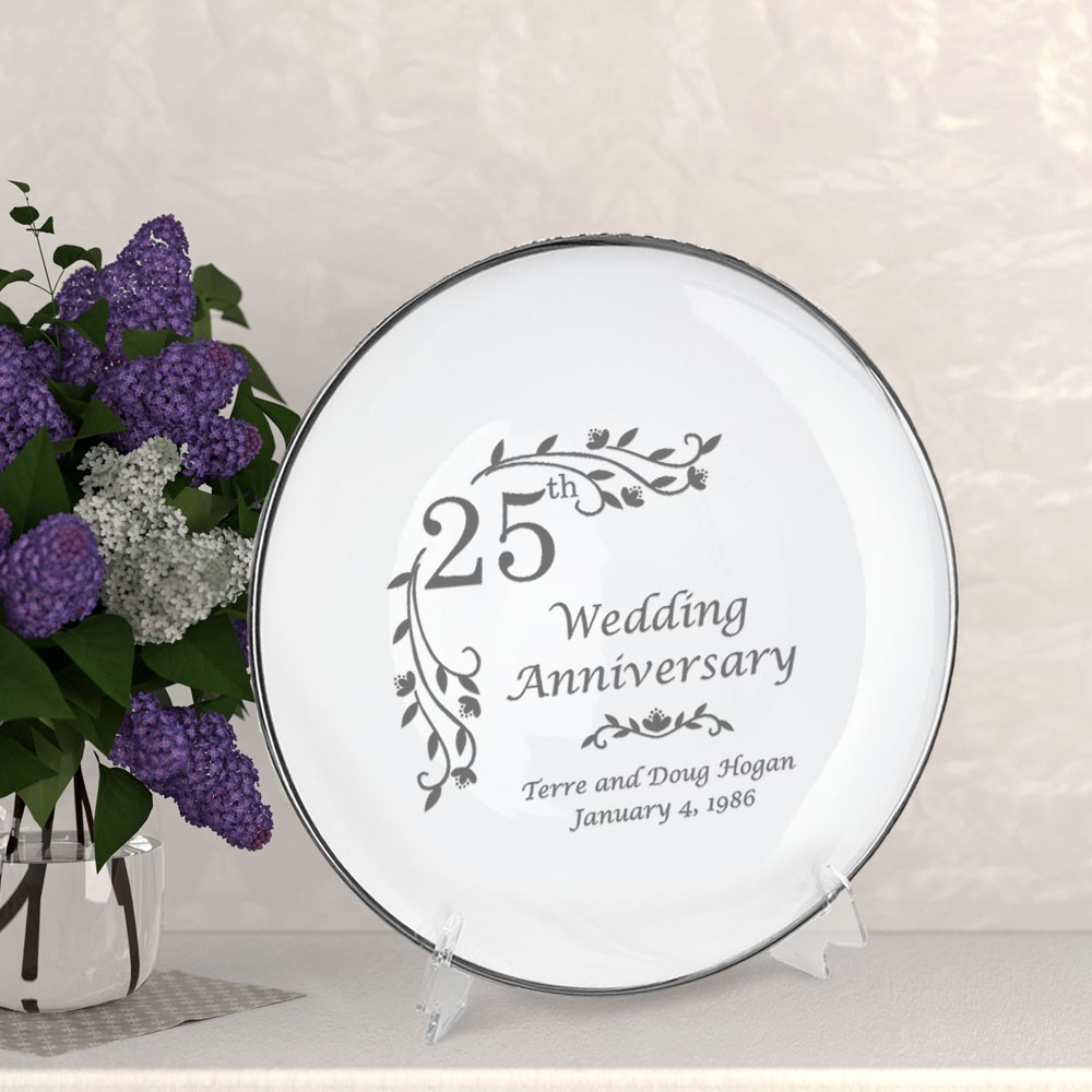Personalized Porcelain Floral 25th Anniversary Plate with