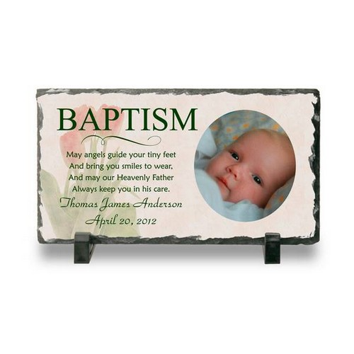 Personalized Baptism Photo Slate Plaque Personalized