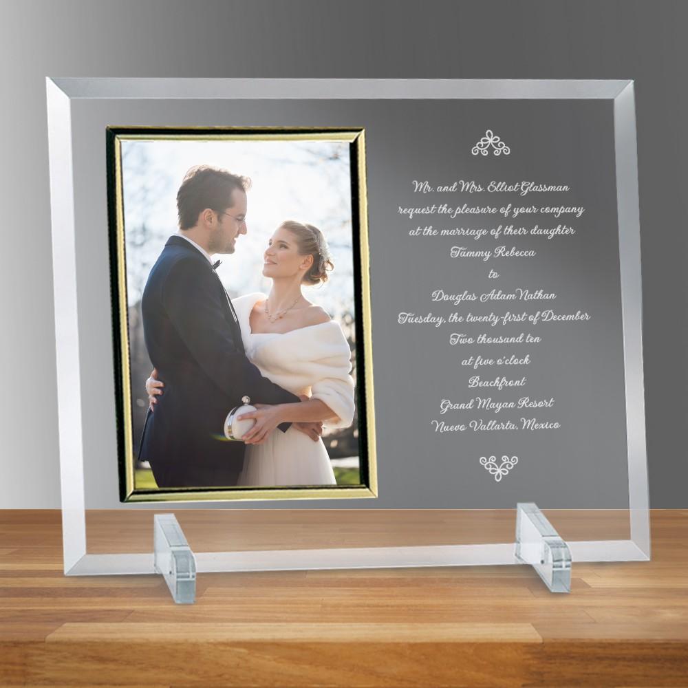 wedding invitation glass vertical 8 x 10 photo frame