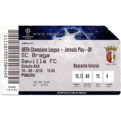 CS Braga v Sevilla FC 2010-11 Champions League ticket