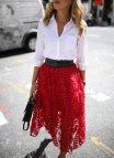 Red Button Down Shirt and Skirt