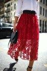 Red Tulle Midi Skirt Classic White Button Memorandum