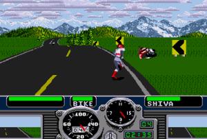 Road Rash (Mega Drive) - após a queda da moto