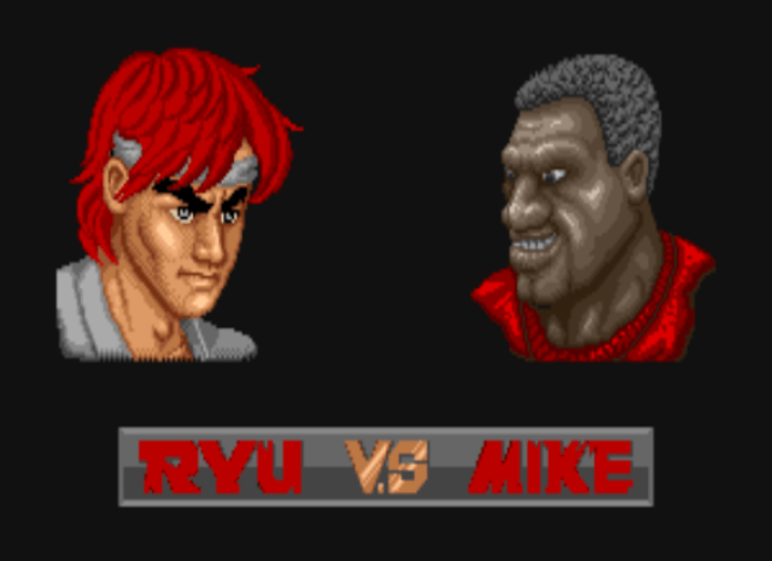 Ryu x Mike em Street Fighter