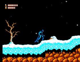 Batman num cenário com neve sobre um fundo noturno