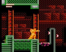 Batman dourado atira na beira de uma plataforma sob um fundo industrial em vermelho e verde
