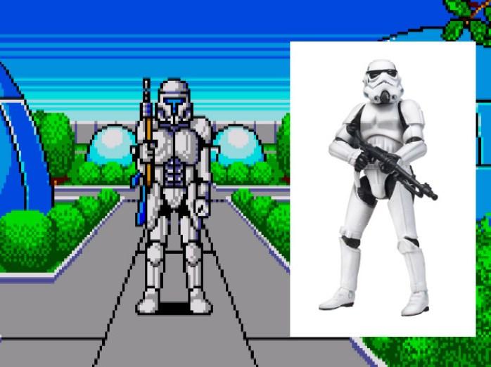 Soldado de Phantasy Star e Stormtroopers de Star Wars