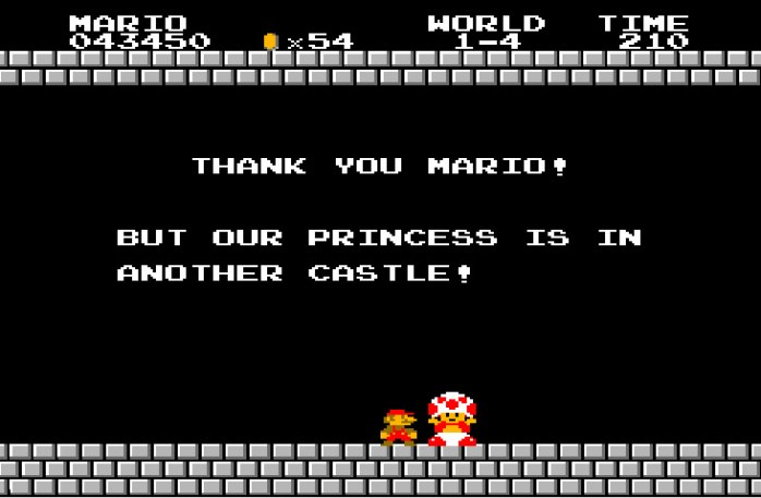 Super Mario Bros. (NES) Toad quote