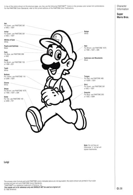 Nintendo Official Character Manual Luigi Pantone