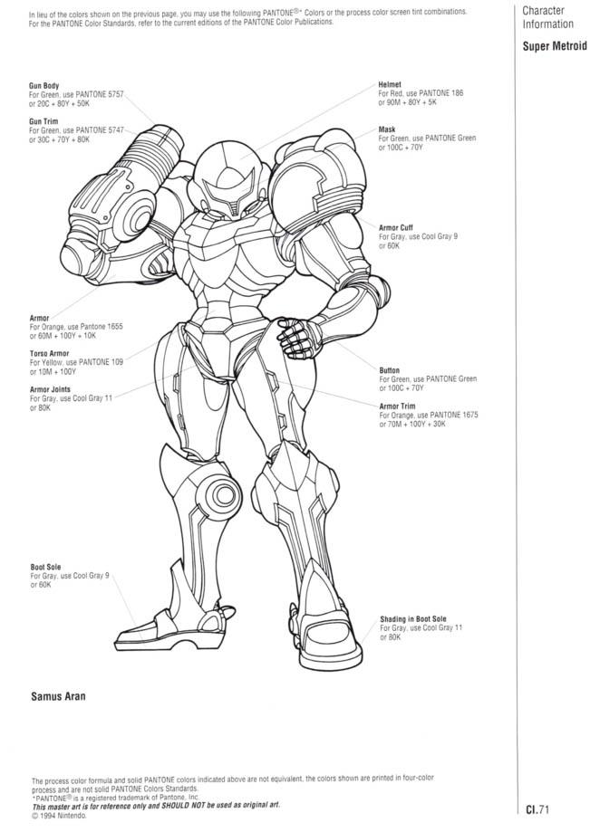 Nintendo Official Character Manual Samus Aran Pantone