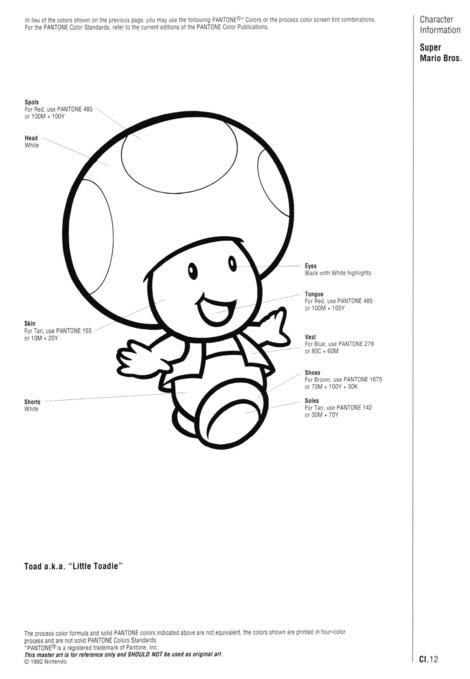 Nintendo Official Character Manual Toad pantone