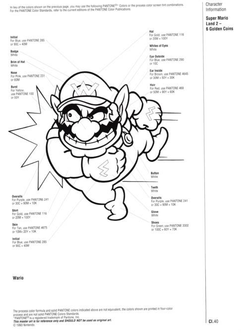Nintendo Official Character Manual Wario Pantone
