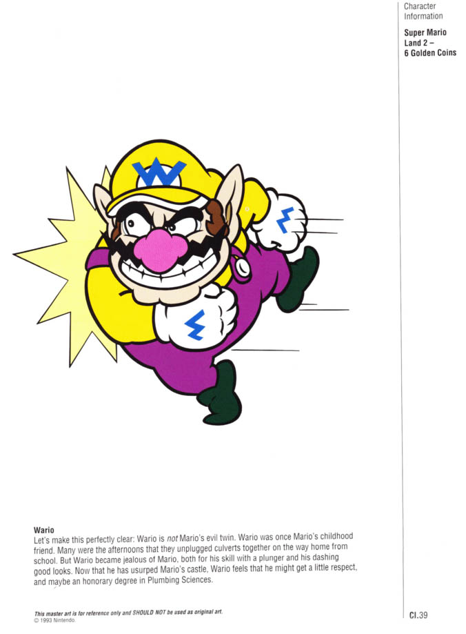 Nintendo Official Character Manual Wario Perfil