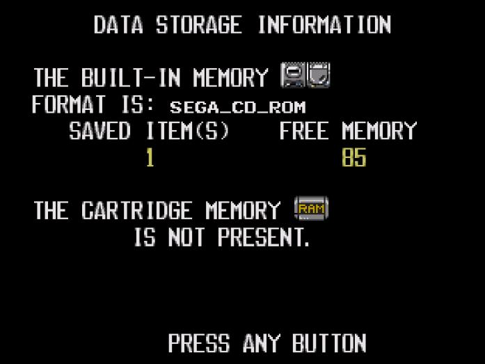 Sega CD internal memory